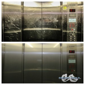 graffiti on elevator doors