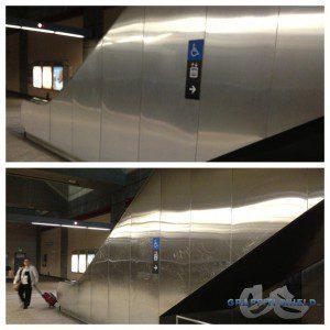 graffiti on metal escalator
